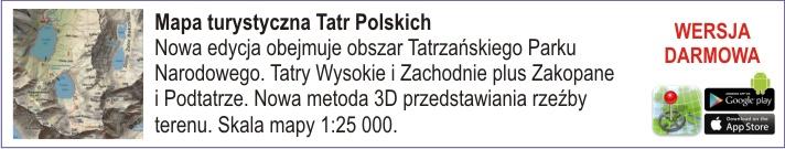Mapa turystyczna Tatr Polskich. Nowa edycja obejmuje obszar Tatrzańskiego Parku Narodowego. Tatry Wysokie i Zachodnie plus Zakopane i Podtatrze. Nowa metoda 3D przedstawiania rzeźby terenu. Skala mapy 1:25 000.