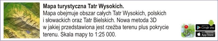 Mapa turystyczna Tatr Wysokich. Mapa obejmuje obszar całych Tatr Wysokich, polskich i słowackich oraz Tatr Bielskich. Nowa metoda 3D w jakiej przedstawiona jest rzeŸba terenu plus pokrycie terenu. Skala mapy to 1:25 000